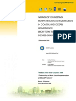 Proceedings of the Workshop on Meeting Human Resources Requirements in Coastal and Ocean Governance