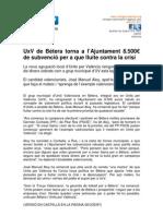 UxV de Bétera torna a l'Ajuntament 8.500€ de subvenció per a que lluite contra la crisi