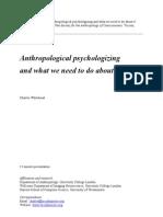 Anthropological Psychologizing