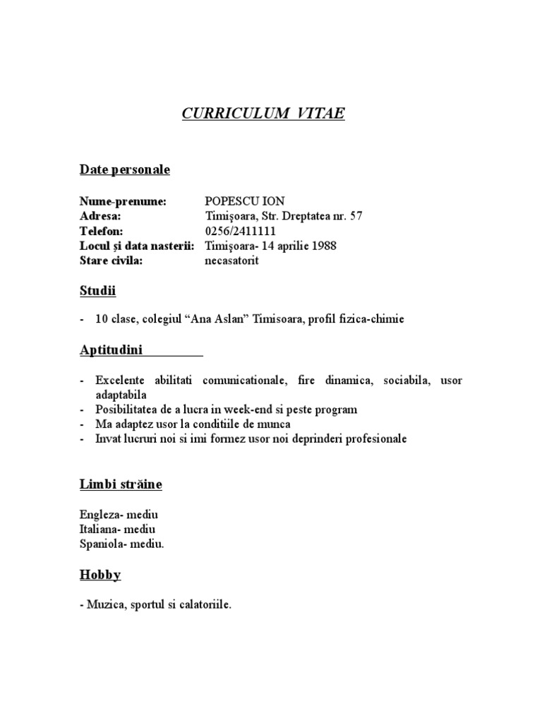 Curriculum vitae format doc romana 7 best images of sample resume cv completat yelopaper