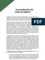 Manifiesto 2011 No a la Privatización del Canal Isabel II