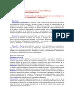 Funciones de la evaluación de los aprendizajes y los procesos necesarios para su implementación educativa; administrativa e informativa.