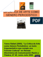 LA CRÍTICA DE ARTE COMO GÉNERO PERIODÍSTICO