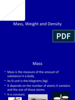 Mass, Weight and Density