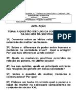 AVALIAÇÃO - questão da mulher FILOSOFIA - EIXO VI SALA 01 e 02
