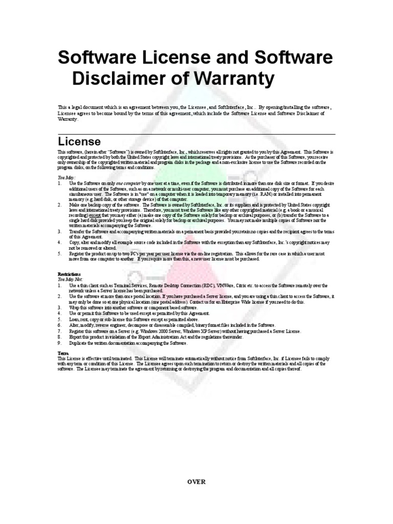 Software Application License and Software Disclaimer of
