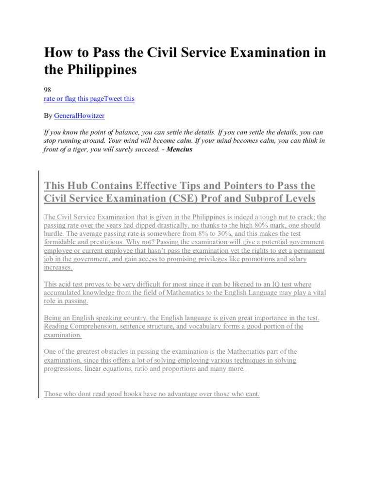 How to Pass the Civil Service Examination in the Philippines | Test  (Assessment) | Psychology & Cognitive Science