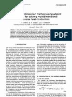 General Optimization Method Using Ad Joint Equation Multidimensional Inverse Heat Conduction 1991