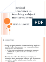 Practical Mnemonics in Teaching Subject Matter Content