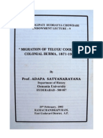 Migration of Telugu Coolies to  Colonial Burma, 1871-1947- Prof. Adapa Satyanarayana