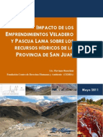Impacto de Los Emprendimientos Veladero y Pascua Lama Sobre Los Recursos Hidricos de La Provincia de San Juan - Cedha - 2011
