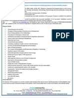Advanced Post Graduate Diploma in Clinical Research & Bio Equivalence & Bio Availability Studies Clini