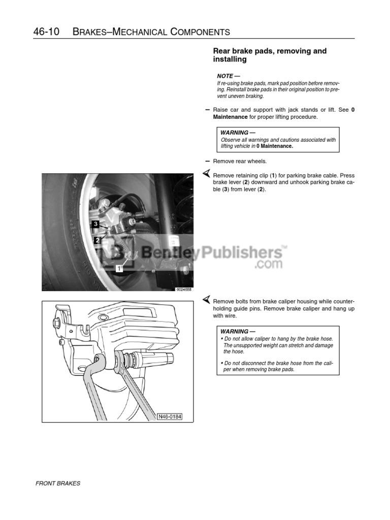 Volkswagen Jetta, Golf, GTI (A4) Service Manual: 1999-2005 - Excerpt    Brake   Manual Transmission
