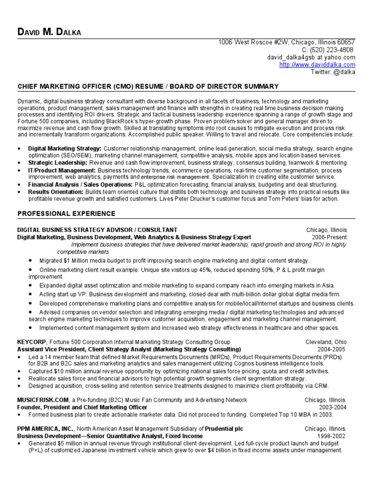 Chief Marketing Officer Resume (CMO) / Board of Directors Resume ...