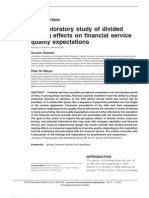 2. an Exploratory Study of Divided Pricing Effects on Financial Service Quality Expectations