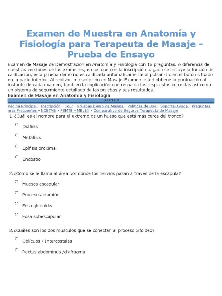 Examen de Muestra Para Terapeuta de Masaje