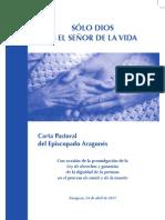 CARTA PASTORAL SOLO DIOS ES EL SEÑOR DE LA VIDA
