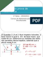 Gabarito 1ª prova - Adm / Secret