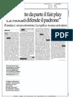 """PISAPIA METTE DA PARTE IL FAIR PLAY """"LA MORATTI DIFENDE IL PADRONE""""  (LA REPUBBLICA MILANO)"""