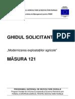 Ghidul Solicitantului Pentru Masura 121 Versiunea 8-3