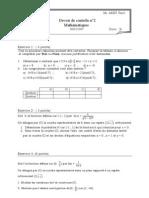 Devoir de contrôle Math N°2 -- Bac Math (2007-2008)