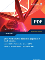 GCSE Edexcel '08 Modular Specimen Papers and Mark Schemes
