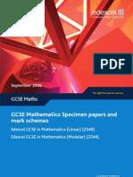 GCSE Edexcel '08 Modular Specimen Papers and Mark Schemes