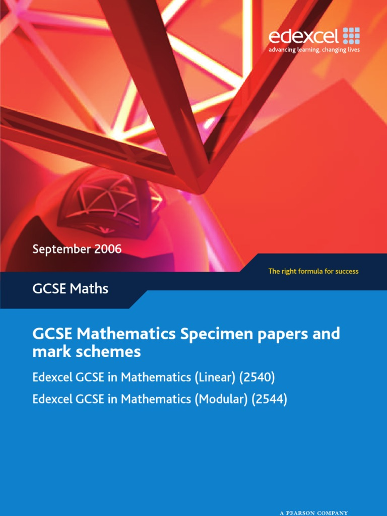 GCSE Edexcel '08 Modular Specimen Papers and Mark Schemes | Sine |  Trigonometric Functions