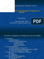 The status of integration of Myanmar in ASEAN