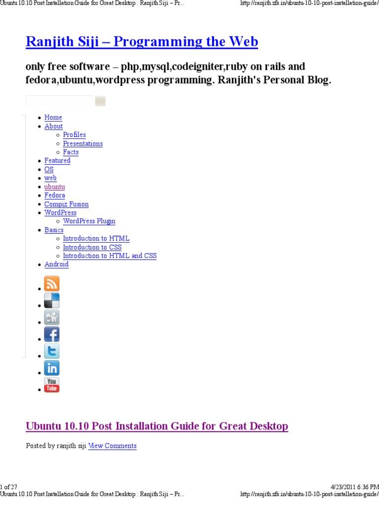 Ubuntu 10 10 Post Installation Guide for Great Desktop | Desktop