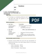 Vandana Resume 2003 Marketing