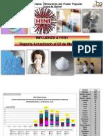 Influenza AH1N1. Estadísticas hasta  02 mayo 2011. Ministerio de Salud de Venezuela