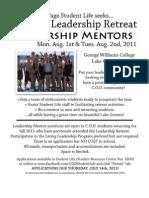 Student Leadership Retreat MENTOR Application 11