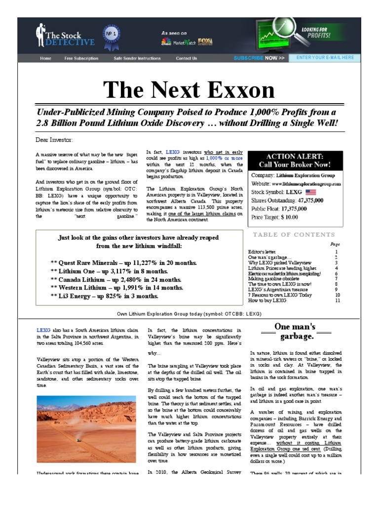 The Stock Detective Lithium Stock Report Mining Stock Electric