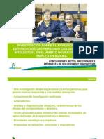 Presentación Investigación sobre el envejecimiento y deterioro de las personas con discapacidad intelectual en el ámbito ocupacional