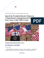 Speech by President Barack Obama on Comprehensive Immigration Reform in El Paso, Texas (With VIDEO Link)
