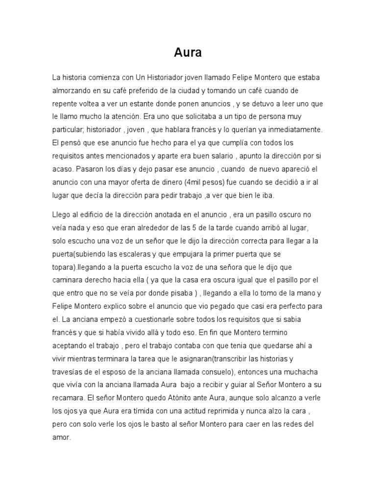 Aura de Carlos Fuentes . An lisis literario del libro Aura