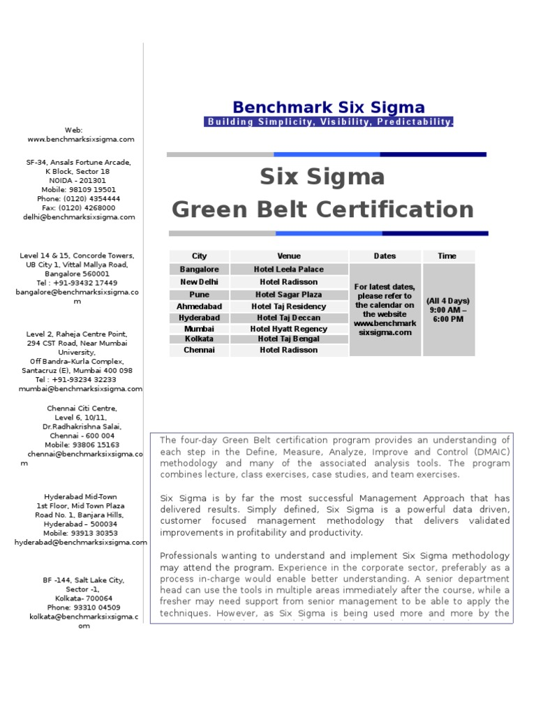 Green Belt Certification Six Sigma Cheque