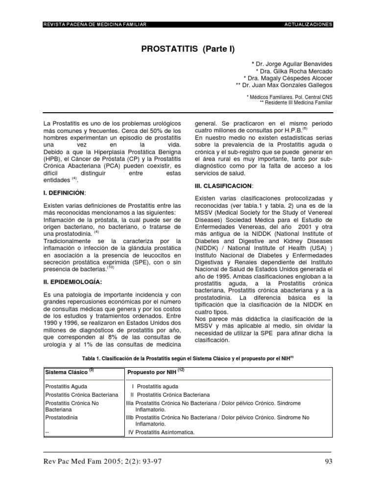 prostatitis epidemiologia méxico