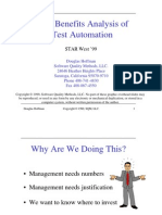 Cost Benefits Analysis of Test Automation