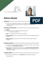 Zahoor's Resume 27 Courses