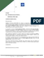 Carta Cliente Plato Freno