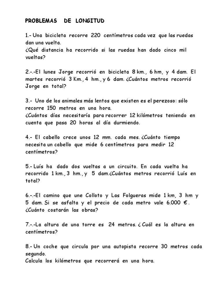 FICHAS MATEMÁTICAS PROBLEMAS DE SISTEMA METRICO