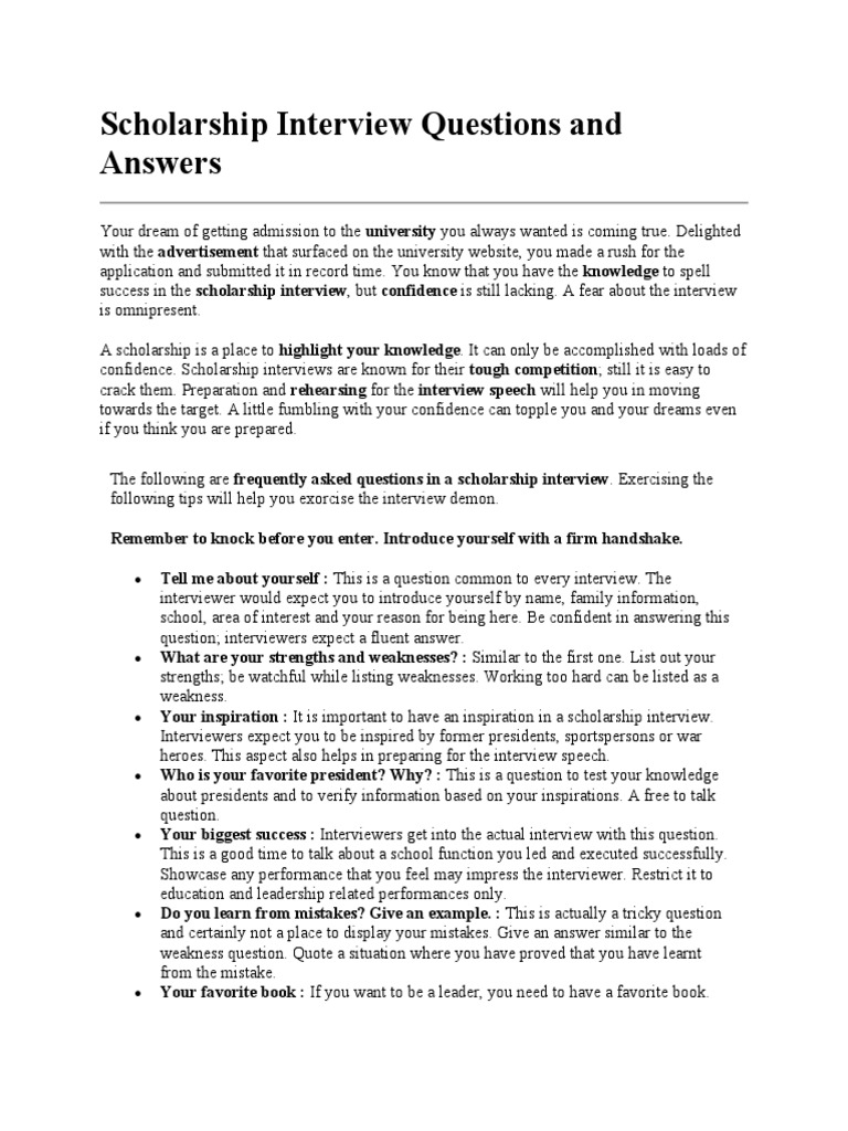 Scholarship Interview Questions And Answers  Interview  Teaching And  Learning