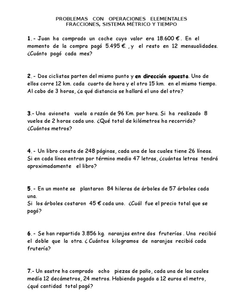Fichas matem ticas 5 y 6 primaria for Cuanto es un cuarto de hora