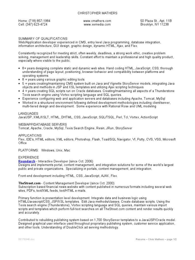 Mathers Resume | Websites | Java Script