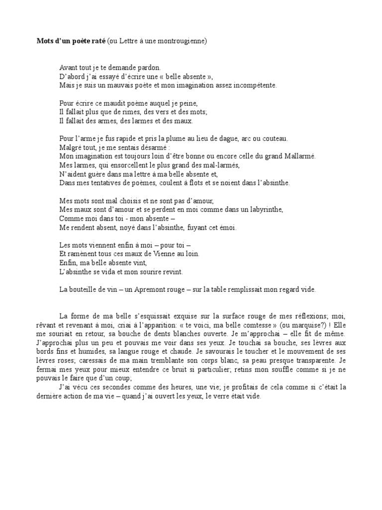 Mots Dun Poète Raté Ou Lettre à Une Montrougienne