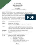 Transportation Research Board 2009 Workshop Agenda