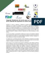 Segunda Plataforma de Acción para el Fortalecimiento de la Libertad de Expresión en Centro América