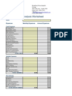 Expense Analysis Worksheet